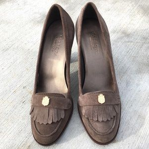 TALBOTS women micro suede fringe heeled loafer 8.5